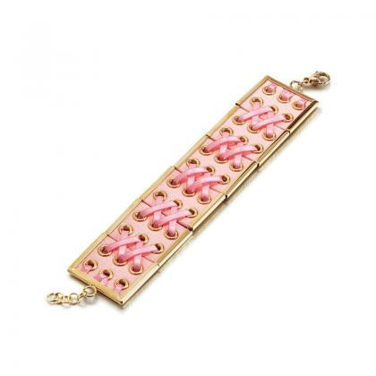 Women's Pink Braided Leather Baller..