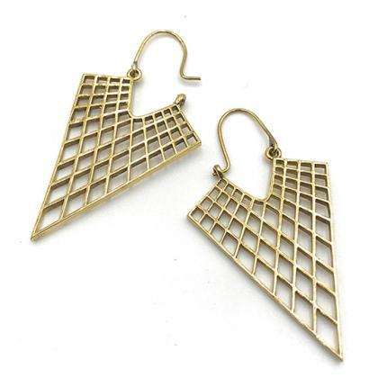 Honeycomb Triangle Earrings / Gold ..
