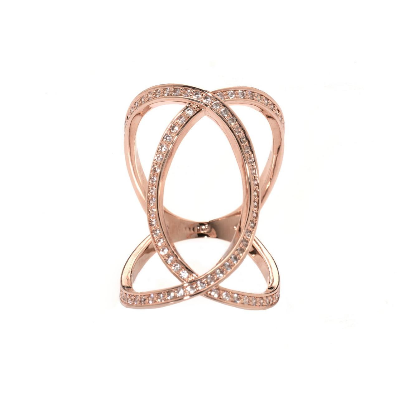 Infinity Ring / Rose Gold Ring / Zircon Ring / Evening Ring / Adjustable Ring / Bling Ring Index Ring / Large Ring / Long Ring / Rose Gold