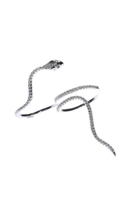 Snake Jewelry / Silver Ring / Statement Ring / Double Finger Ring / Evening Ring / Zircon Ring / Wrap Around Ring / Goth Jewelry / Silver