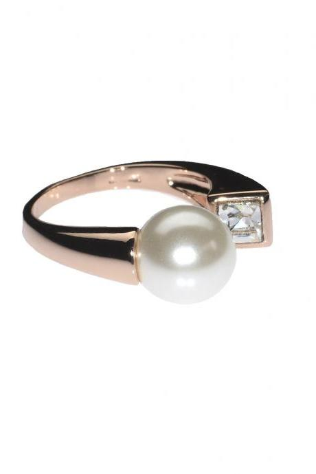 Pearl Ring / Rose Gold Ring / Wrap Around Ring / Zircon / Classy Ring / Fashion Ring / Cocktail Ring / Evening Ring / Open Ring / Bling Ring