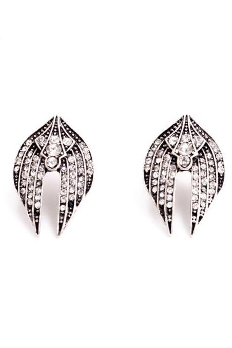 Wing Earrings / Vintage Earrings / Crystal Earrings / Classy Jewelry / Estate Earrings / Rhinestone Earrings / Evening Earrings / Silver