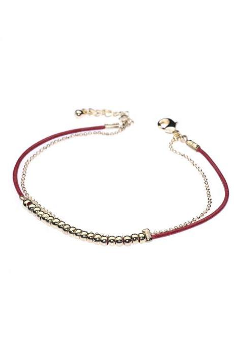 String Bracelet / Red String Bracelet / String of Fate / Good Luck Bracelet / Gold Beads / Red String / Spiritual Bracelet / Red Leather