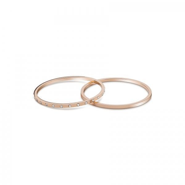 Bangle Bracelets with Inlaid Zircon Set of 2 for Women, Rose Gold Plated