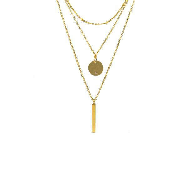 Layered Necklace / Gold Necklace / Pendant Necklace / Simple Gold Necklace / Everyday Necklace / Dainty Necklace / Bar Pendant / Gold Circle