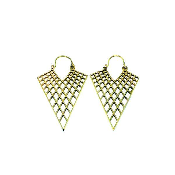 Honeycomb Triangle Earrings / Gold Dangle Earrings / Geometric Filigree Earrings / Boho Festival Jewelry / Hammered Handmade Brass Earrings